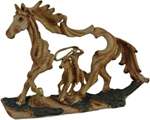 EVERSPRING Reigning in Roping Cowboy and Horse Decorative Wood Look Statue