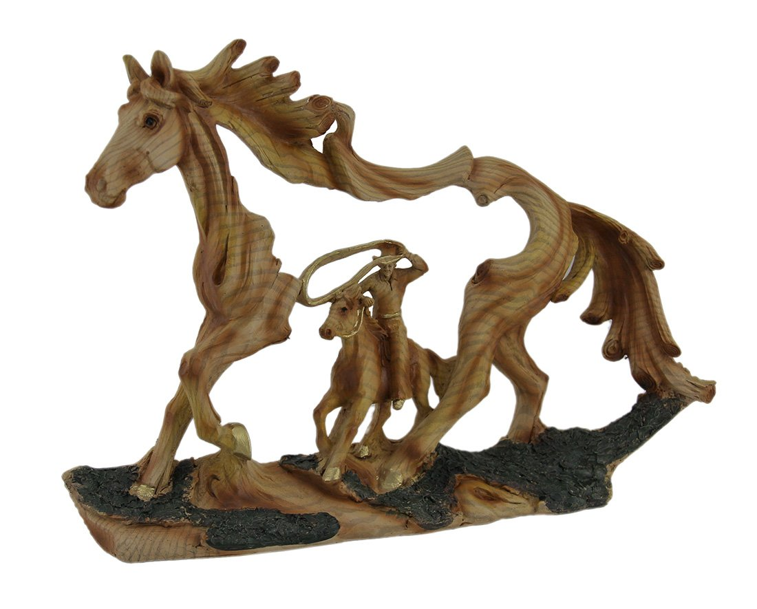 Everspring Wood Statues Reigning In Roping Cowboy And Horse Decorative Wood Look Statue 11.5 X 8.5 X 2.5 Inches Brown
