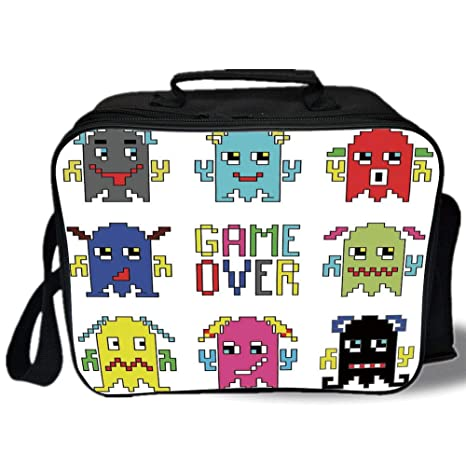 Amazon com: Insulated Lunch Bag, 90s, Pixel Robot Emoticons with