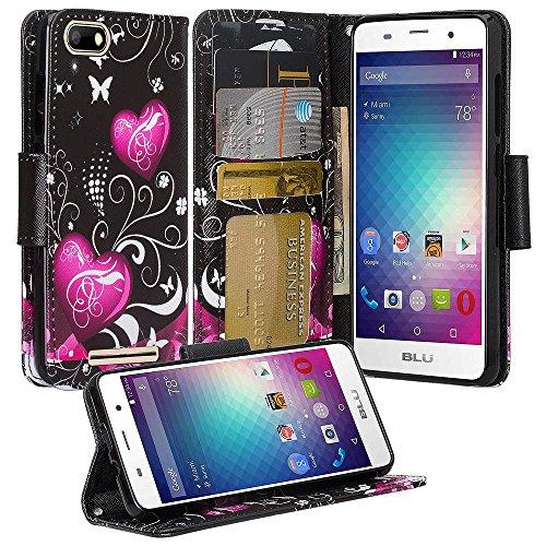 BLU Advance 5.0 HD Case, BLU Dash X2 case, SOGA [Pocketbook Series] Leather Magnetic Flip Wallet Case for BLU Advance 5.0 HD A050 / Dash X2 D110U - Black Butterfly Heart