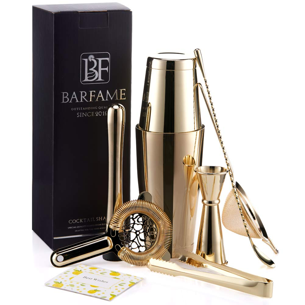 Boston Cocktail Shaker Set 18/8 Stainless Steel Bartender Kit, Including 18oz&28oz Shaker Tins, Double Jigger, Muddler, Mixing Spoon, Ice Tong, Cocktail Strainer and Conical Strainer by Barfame(Gold)