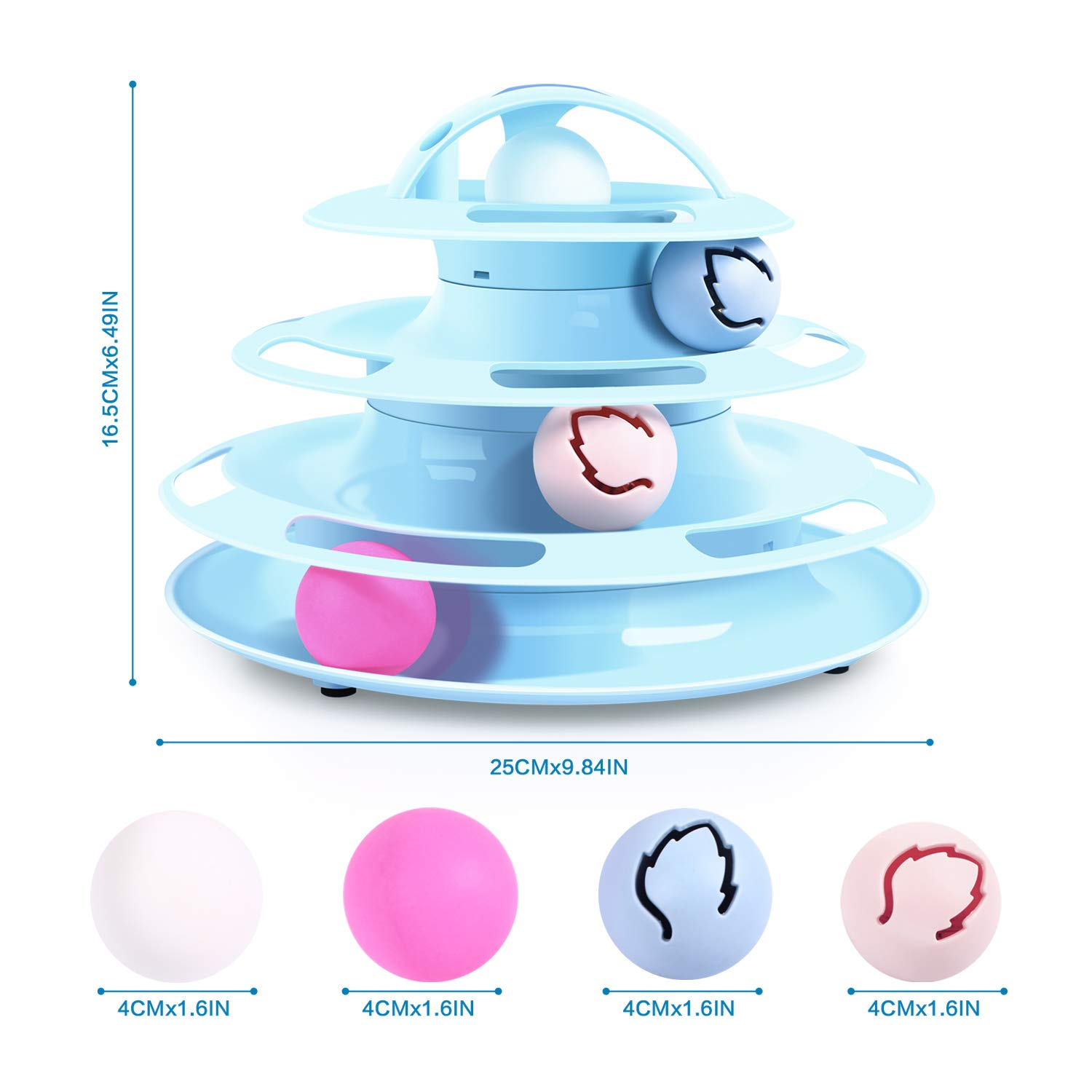 Pecute Cat Roller Toy with Interactive Teaser Mouse, 4 Tier Cat Tower of Track Toy with Catnip and Flash Balls