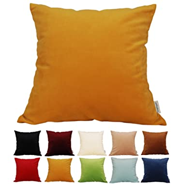 TangDepot Solid Velvet Throw Pillow Cover/Euro Sham/Cushion Sham, Super Luxury Soft Pillow Cases, Many Color & Size options - (12 x12 , Golden Yellow)