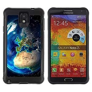 LASTONE PHONE CASE / Suave Silicona Caso Carcasa de Caucho Funda para Samsung Note 3 / Earth Europe View Continents Planet Space
