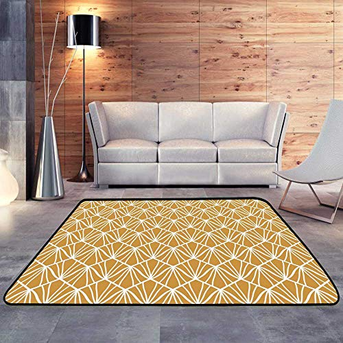 - Durable Rubber Floor Mat,Abstract Art Deco Seamless Geometric Fish Scale Pattern.W 71
