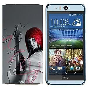 TECHCASE---Cubierta de la caja de protección para la piel dura ** HTC Desire Eye ( M910x ) ** --Punk Girl Rock Peli Roja