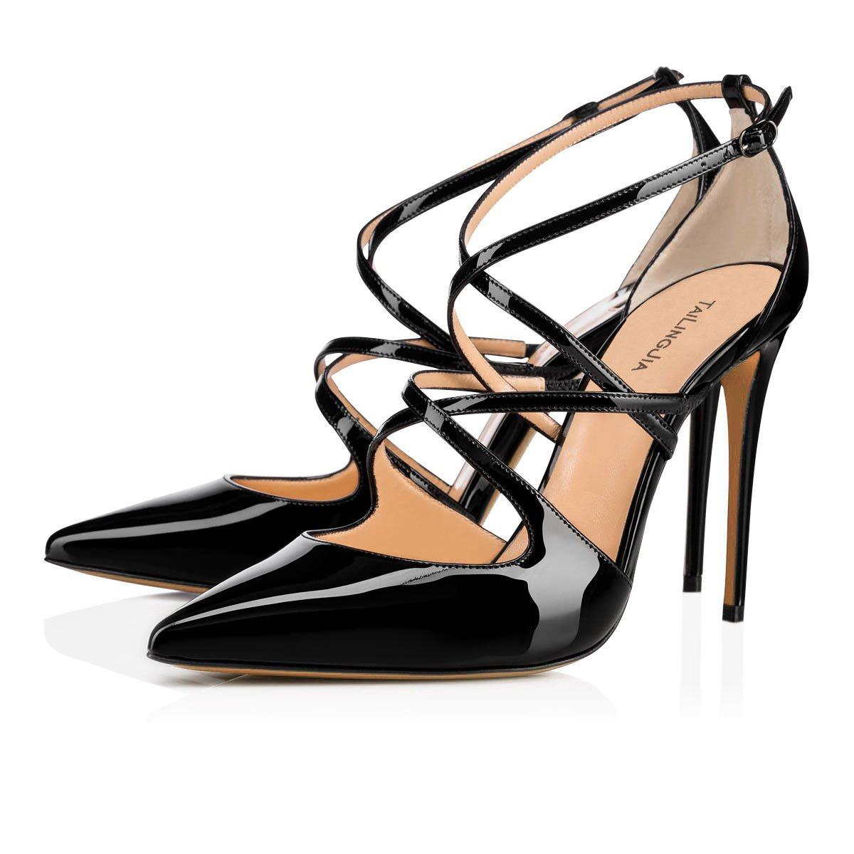 New Frauen Mode Sandalen 2018 Sommer neue Leder Pumps Platz High Heels Schnalle hohle Ankle Strap Sandalen eu size  36|Rosa