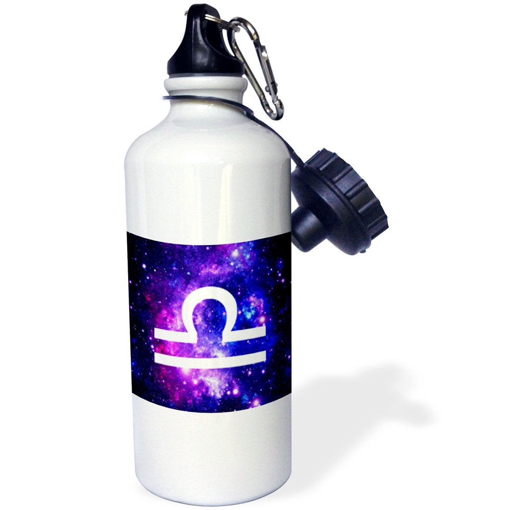wb/_202163/_1 Multicolored 21oz 3dRose Libra Star Sign on Purple Space Background-Zodiac Horoscope Symbol-Sports Water Bottle