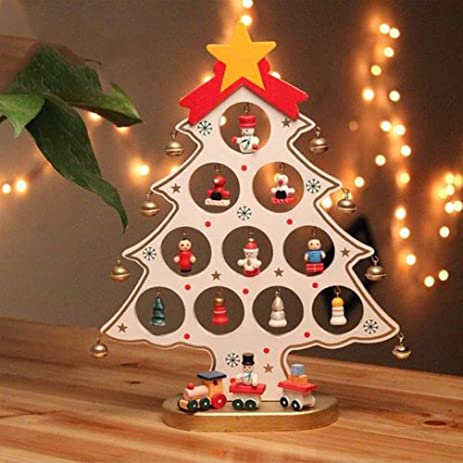lacheln diy wooden white christmas tree decorations snowmanjingle bellangels miniature ornaments