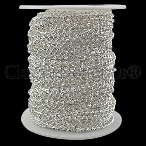 Cabochon Chain Necklace (CleverDelights Curb Chain Spool - 3x5mm Link - Shiny Silver Color - 30 Feet - Bulk Jewelry Chain Roll)