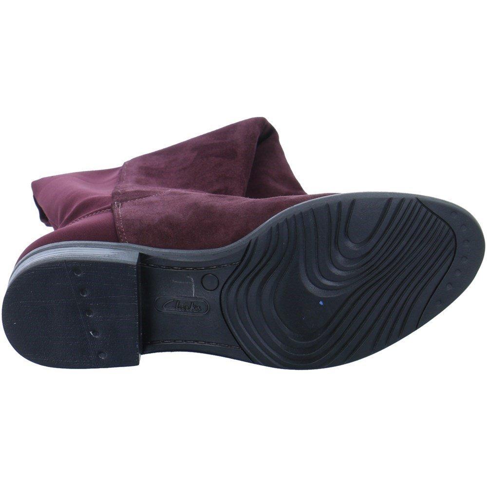Clarks Women's Caddy Belle Long Boots 6 D (M) UK/ 8.5 B(M) US Aubergine Suede