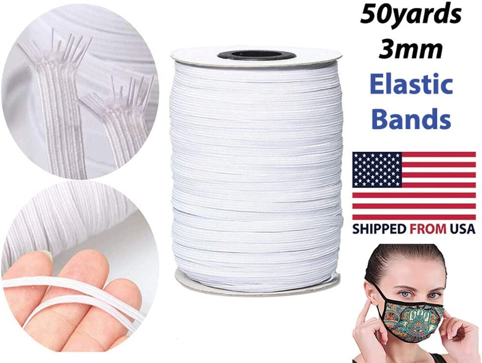1//8 inch 3mm DIY Craft High Elasticity Flat 50 Yards Stretch Smooth Shipped from USA Black Perfect for Face Masks and Sewing Elastic Bands for Sewing