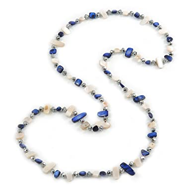 Avalaya Long Pastel Multicoloured Shell Nugget and Glass Crystal Bead Necklace - 110cm L y5W0Tq