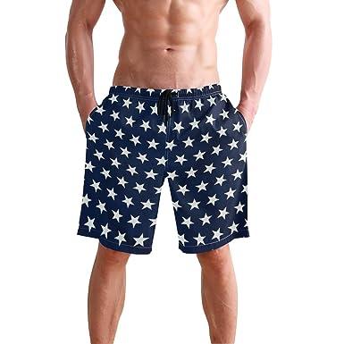 241fd4201e visesunny Cool Blue White Star Print Men Beach Shorts Hot Summer Swim  Trunks Sports Running Bathing