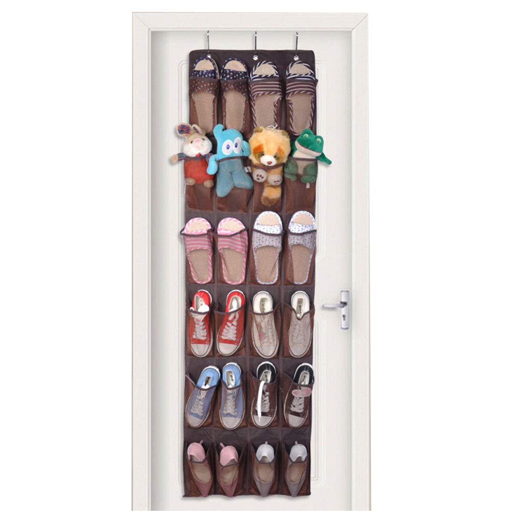Over The Door Shoe Organizer, Eseastar 24 Pockets Large Hanging Shoe Bag Shoe Shelves Mesh Pockets,Heavy Duty Door Shoe Rack with 3 Steel Door Hooks (Brown)