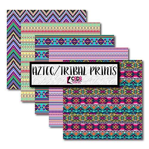 Aztec Printed Vinyl Bundle, CSDS Printed Vinyl, Tribal Pattern Heat Transfer Vinyl, Printed HTV, Patterned Vinyl (Heat Transfer Vinyl) ()