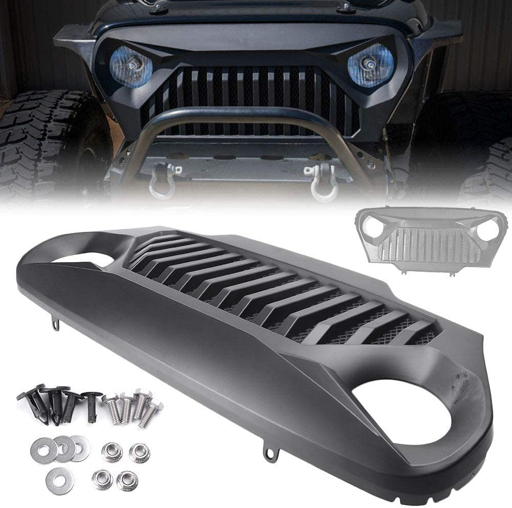 LSYBB Frontgrill Angry Bird Style Mesh Grill f/ür Jeep Wrangler TJ 1997-2006 Matt Black