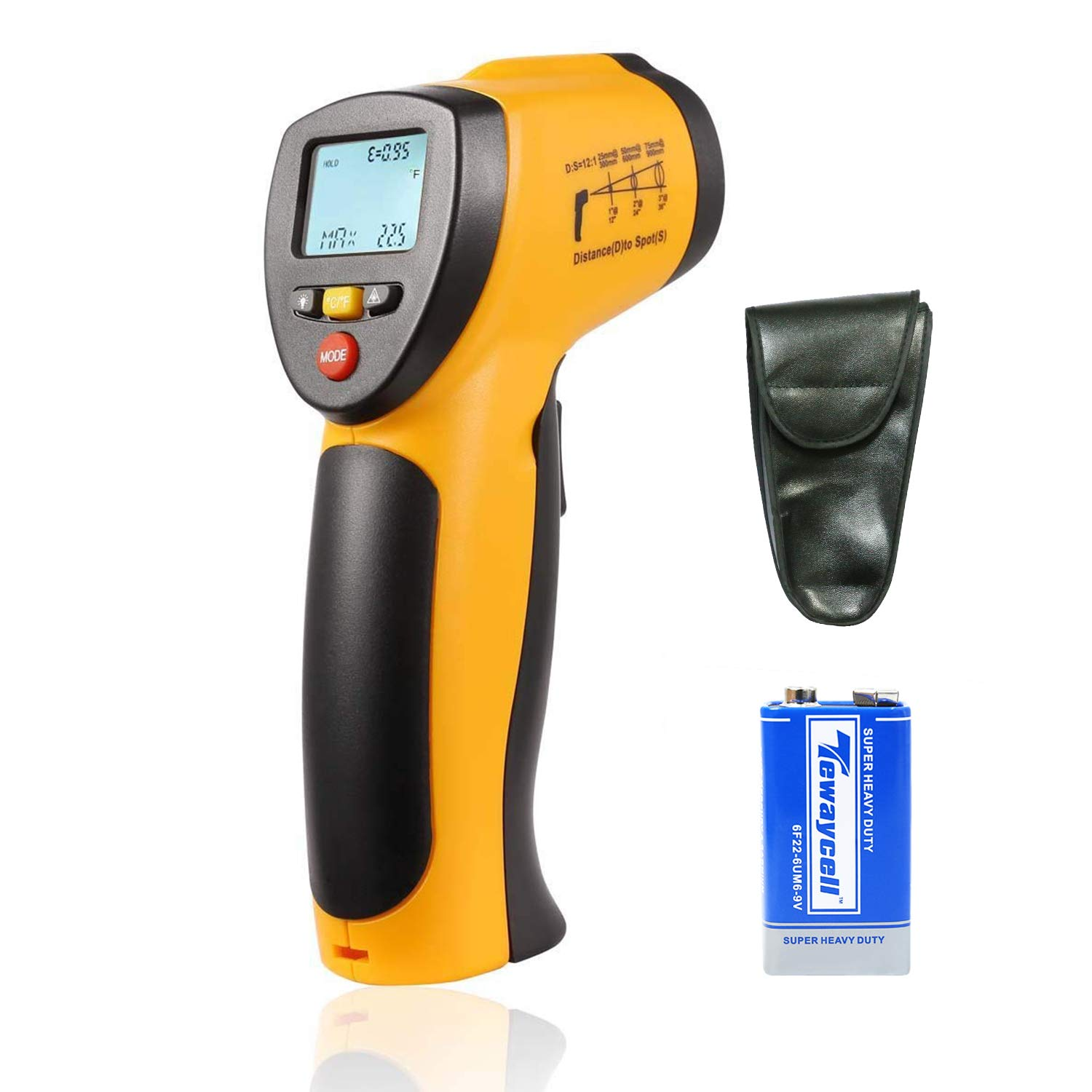 HTI@XT Instrument Digital Infrared IR Thermometer,No-contact Laser Temperature Gun -58℉~716℉ (-50℃~380℃) for Cooking,Auto Maintenance,Home Repairs (9 V Battery Included)