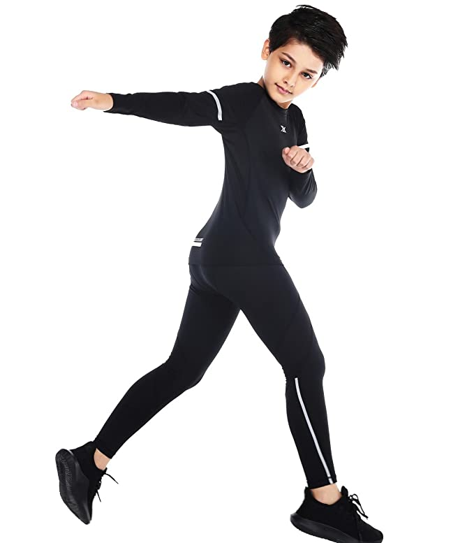 2872ccc7bd Red Plume Boys Long Pants Lightweight Compression Leggings/Tights Base  Layer Kids Sport Running Trouser