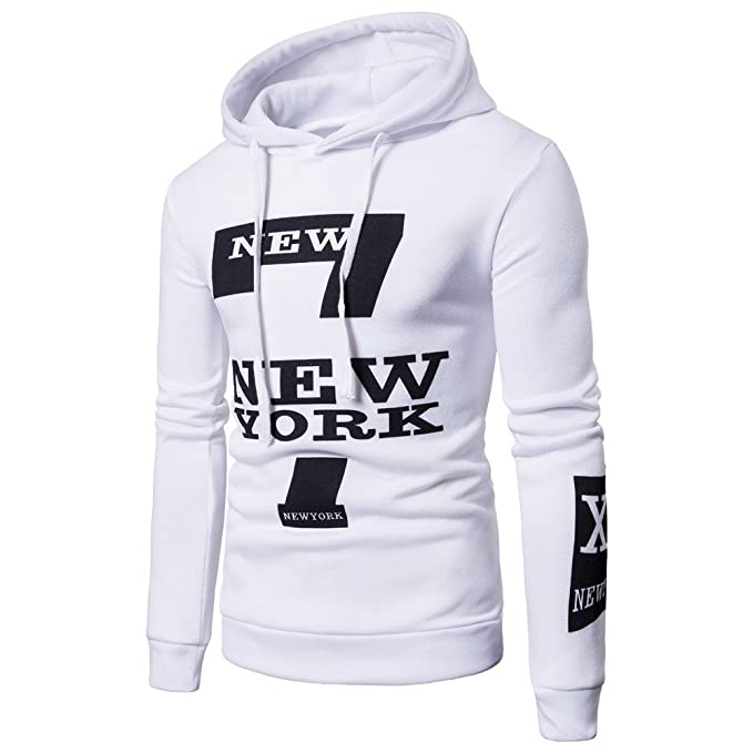 GOVOW Cotton Running Shirt Autumn Mens Long Sleeve Printed Hoodie Sweatshirt Top Outwear at Amazon Mens Clothing store: