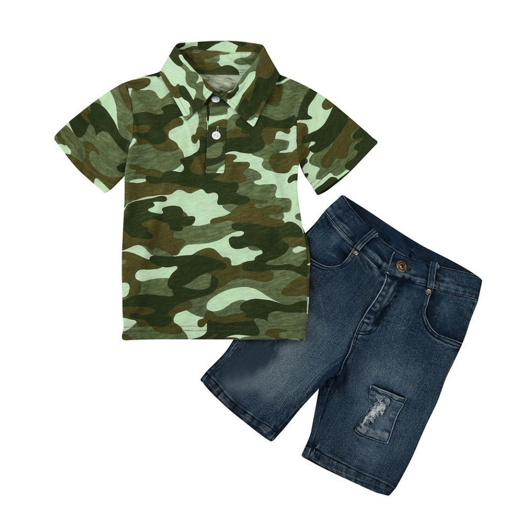 Anxinke Little Boys Girls 2pcs/Set Summer Camouflage T Shirts + Demin Pants Outfits (5)