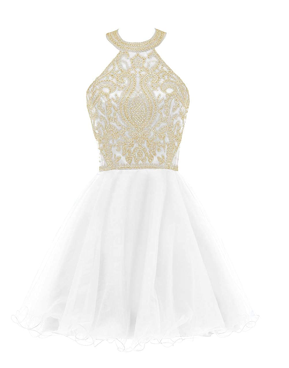 White Huifany Short Halter Top Prom gold Lace Beaded Homecoming Dress Cocktail Party Gowns
