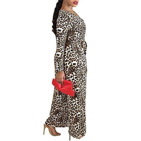 79f65faa638 Amazon.com  Long Sleeve Leopard Print Jumpsuit for Women Plus Size Wide  Pants Casual Romper Bravetoshop(Yellow