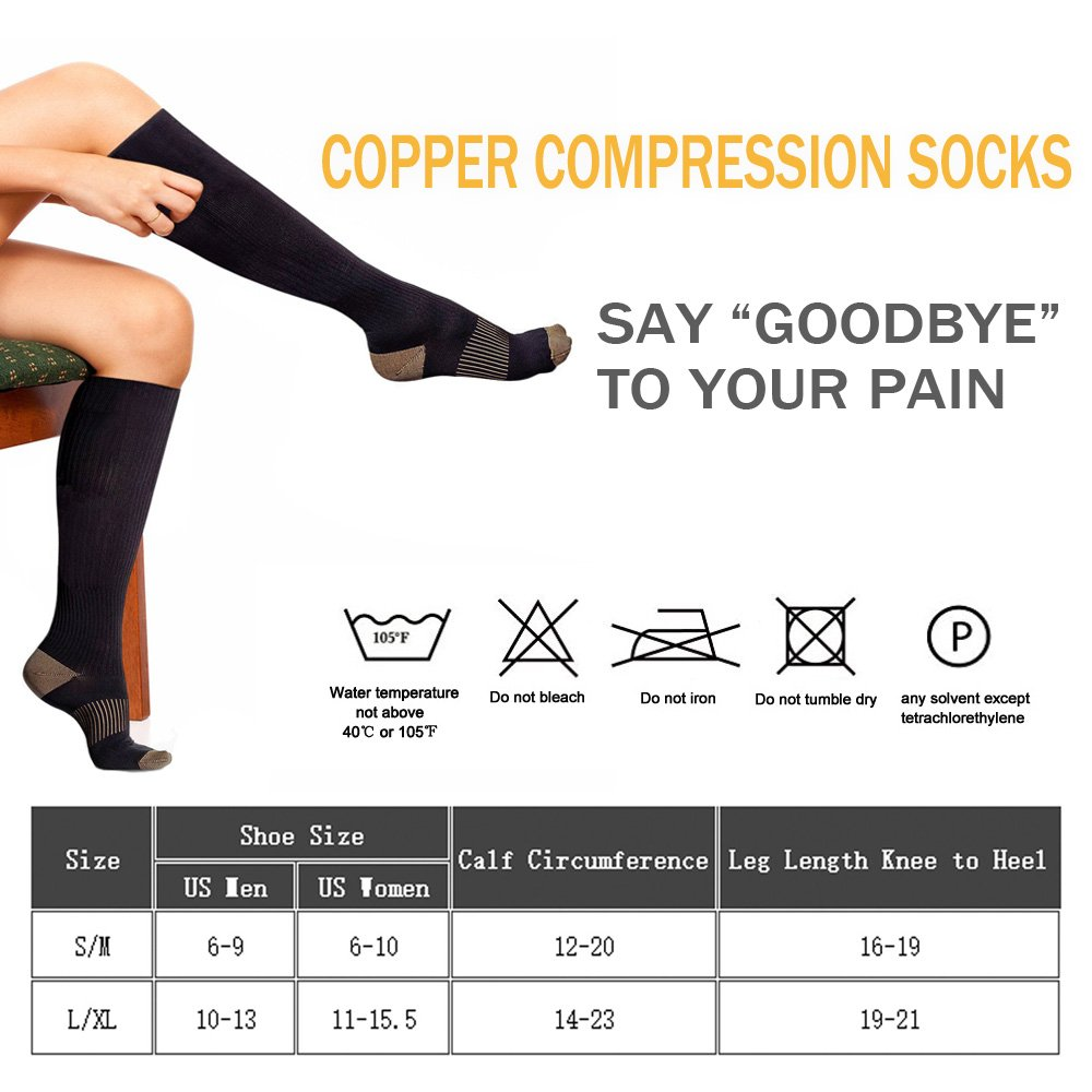 Copper Compression Socks For Men&Women -3 Pairs - Best Recovery Support Socks For Running,Athletic,Medical,Pregnancy and Travel -15-20mmHg (Nude, L/XL) by FuelMeFoot (Image #7)