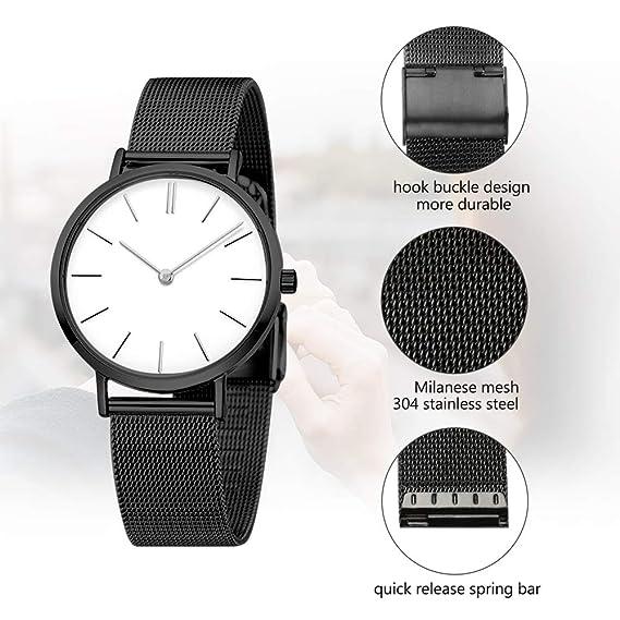 22 mm de malla negro reemplazo correa de reloj universal con acero inoxidable sólido rápida barra de resorte de liberación: Amazon.es: Relojes
