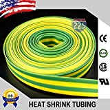 "25 FT 1"" 25mm Polyolefin Yellow Green Heat Shrink Tubing 2:1 Ratio"