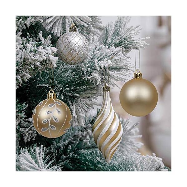 Valery Madelyn Palle di Natale 100 Pezzi di Palline di Natale, 3-5 cm Eleganti Ornamenti di Palle di Natale Infrangibili Bianchi e Dorati per la Decorazione Dell'Albero di Natale 5 spesavip