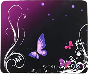 iColor Purple Butterfly Anti-Slip Mouse Pad Mice Pad Mat Mousepad for Office, Computer, Laptop & Mac Optical Laser Mouse- Durable & Comfortable & Lightweight for Easy Typing & Pain Relief MP-006