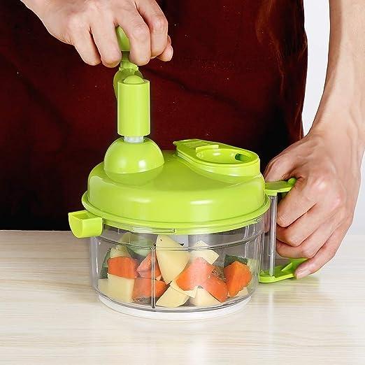 Manual de los hogares prensa de ajo, ajo Press, pequeño ciclón trituradora, bola de masa hervida Mano Robot de cocina-Manual de Alimentos Chopper Mezclador Blender Carne de corte for ensalada de fruta: