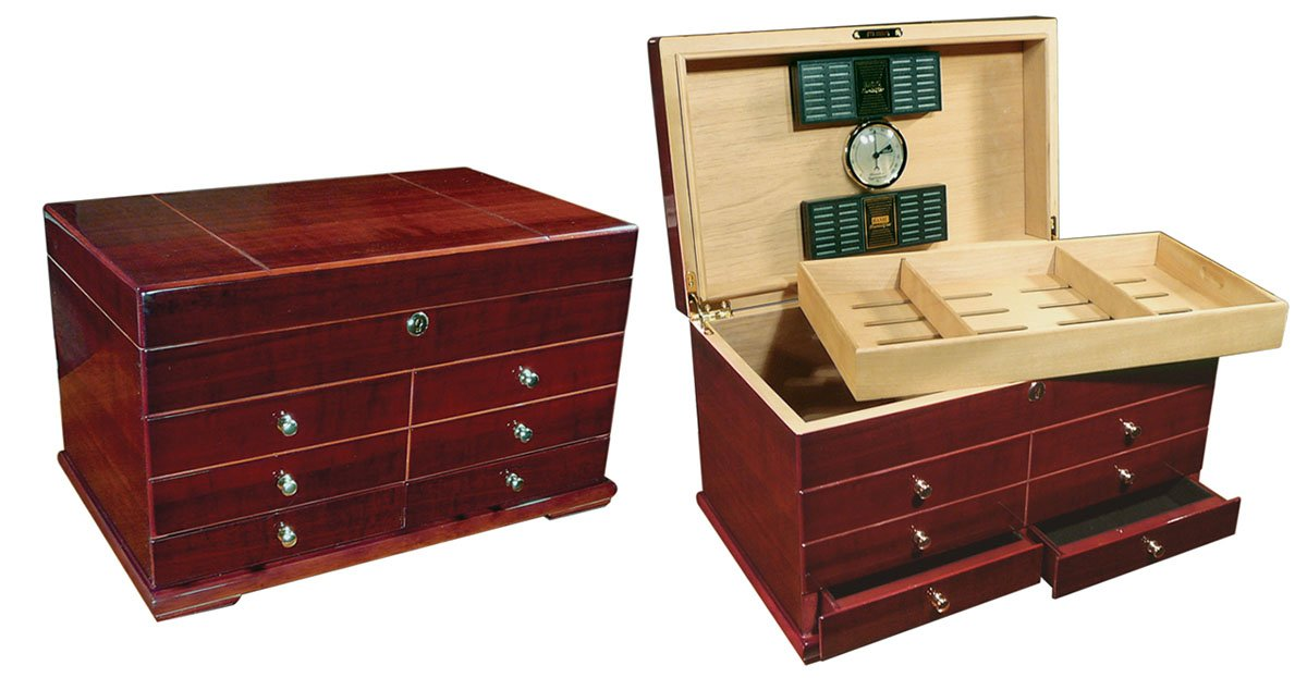 Prestige Import Group Landmark Large Humidor with Drawers - Color: Cherry Finish by Prestige Import Group