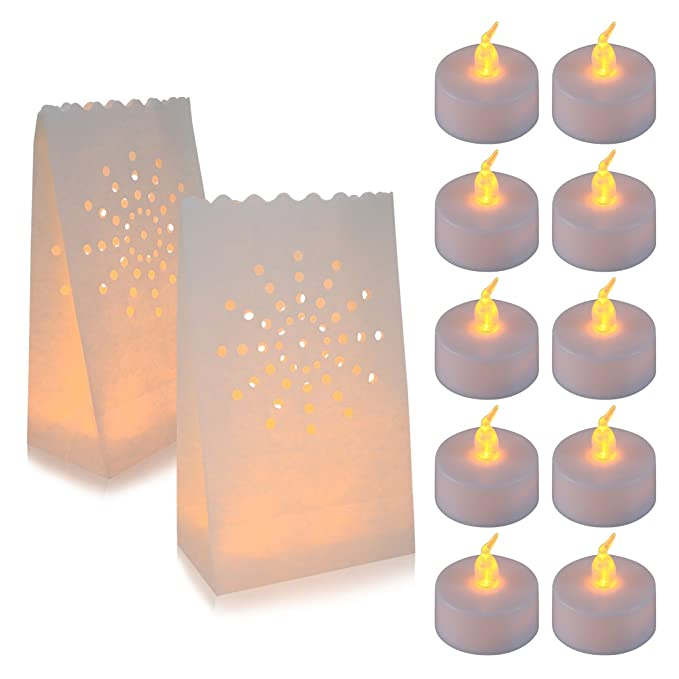 AceList 30 Set Luminaries Bag with Flameless Candles Tea Lights for Wedding Party Decoration