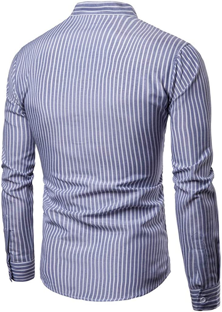 TEVEQ Mens Shirt Autumn Fashion Casual Long Sleeve Stripe Loose Casual Shirt Top Blouse Blue