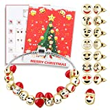 D-FantiX Christmas Countdown Calendar 2018 Women Girls DIY Jewelry Advent Calendar 24 Days Collection with Bracelet Emoji Beads Ear Studs Gift Set