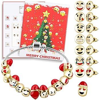 d fantix christmas countdown calendar 2018 women girls diy jewelry advent calendar 24 days collection with bracelet emoji beads ear studs gift set