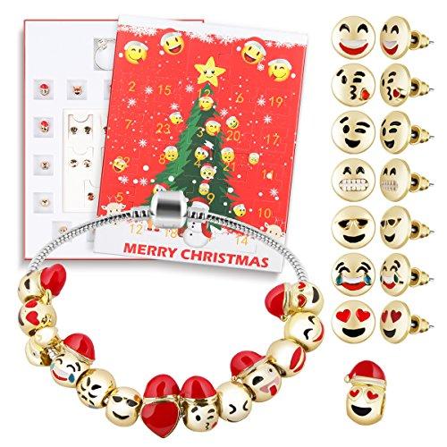 D-FantiX Christmas Countdown Calendar Women Girls Jewelry Advent Calendar 2018 DIY 24 Days Charms with Bracelet Emoji Beads Ear Studs Set