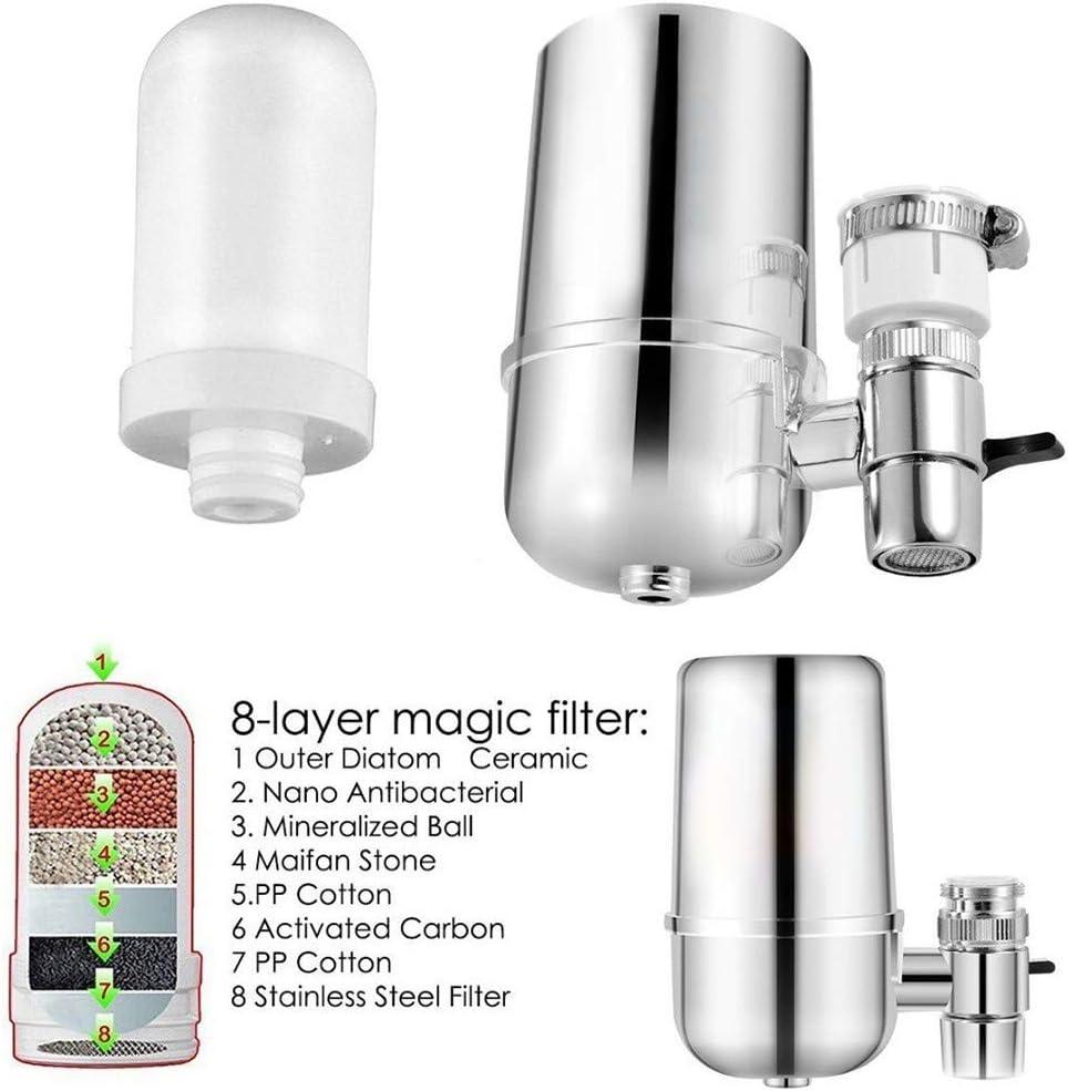 Weite Premium Water Filter Set for Kitchen Sink Bathroom Faucet Mount Filtration Tap Purifier Silver