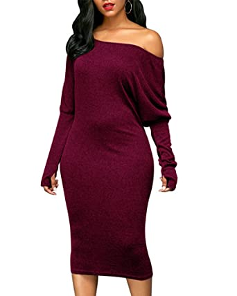 b63836195c9c Romacci Women Off Shoulder Dress Cut Out Bat Sleeves Solid Elegant ...