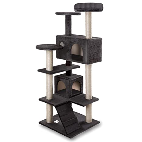 Mchaus Rascador Centro de Juegos y Descanso arbol para Gatos de 130cm de Altura (Negro