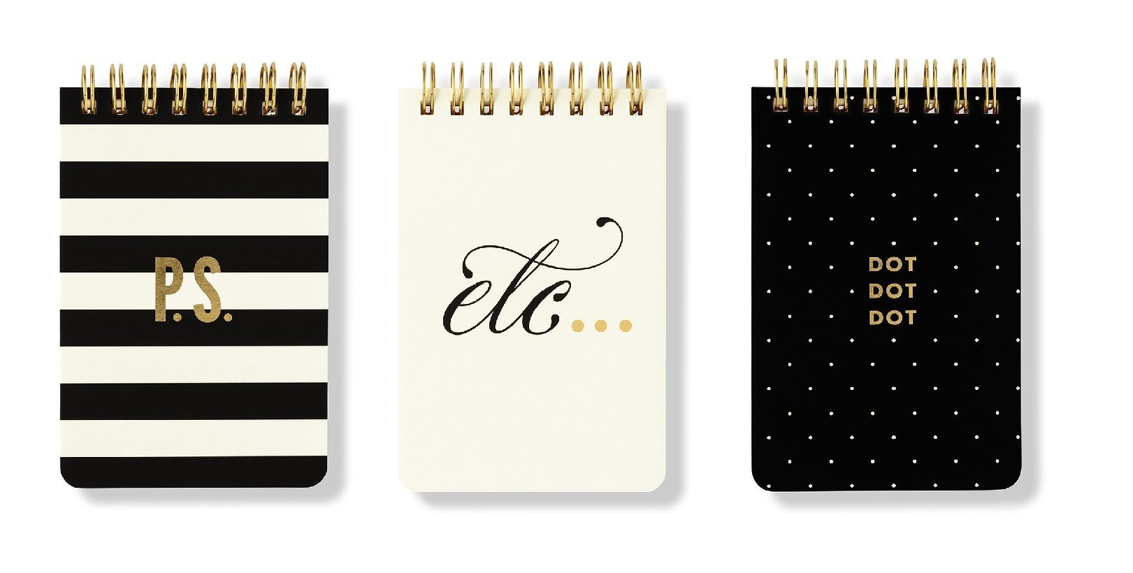 Kate Spade New York Mini Spiral Notepad Set Of 3, Black And White