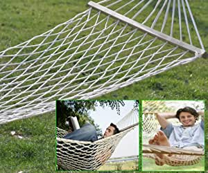 """AGPtek 70.7"""" Outdoor Camping Hammock Patio Lawn Garden Sleeping Bed with Wood Stretcher for One Person 200LBs"""