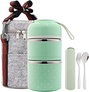 YBOBK HOME Bento Lunch Box Leakproof Stainless Steel Stackable Lunch Box with Bag and Reusable Flatware Set Thermal Food Storage Container for Healthy On-the-Go Meal and Snack Packing (2-Tier, Green)