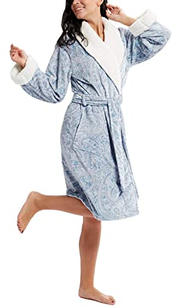 502dc332d8 Ink+Ivy Plush Robes for Women - Plaid Fleece Ladies Robe Bathrobe ...