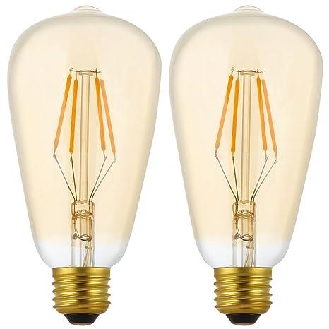2X E27 Bombillas Filamento LED 4W Dimmable Bombilla Edison ST64 Bombilla Retro Vintage Blanco Cálido 400LM