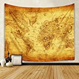 Sunm Boutique Retro World Map Tapestry Vintage World Map Tapestry Wall Hanging Bedroom Living Room Dorm Home Decor (Large/82.7'' X 59.1'')