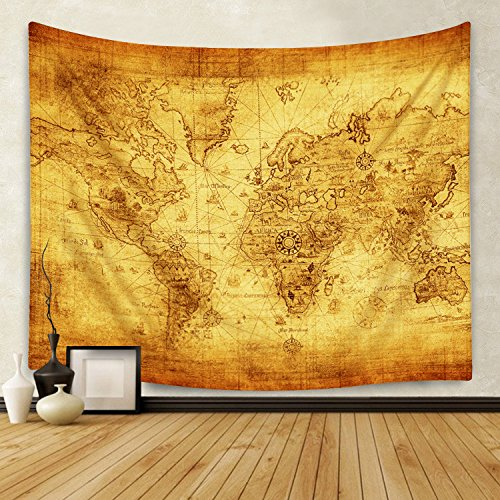 Sunm Boutique Retro World Map Tapestry Vintage World Map Tapestry Wall Hanging Bedroom Living Room Dorm Home Decor (Large/82.7'' X 59.1'') by Sunm Boutique