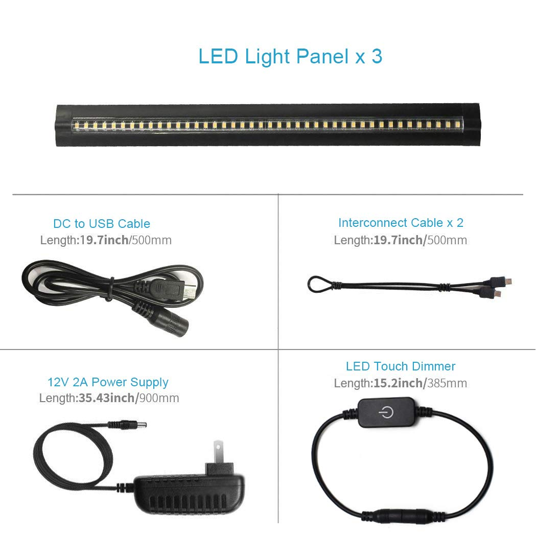 Ultra Thin LED Under Cabinet/Counter Kitchen Lighting Plug-In, Touch Dimmable 2 Coin Thickness LED Light with 42 LEDs, Easy Installation Warm White 12V/2A 5W/450LM CRI90, 3 Pack, All in One Kit by LEDLightsWorld (Image #6)